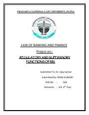 REGULATORY AND SUPERVISORY FUNCTIONS OF RBI
