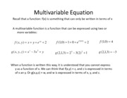 Lesson 7a - Multivariable Equations