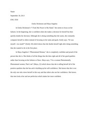 Emily Dickinson and Maya Angelou Comparison Paper