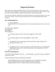 Plagiarism Worksheet Ayaz