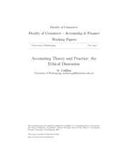 Accounting Theory and Practice the Ethical Dimension