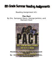 8th Grade Summer Reading Assignment The Pact