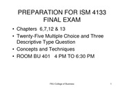 Advanced Systems Analysis and Design PREPARATION FOR FINAL EXAM