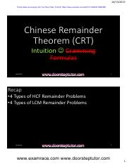 Chinese-Remainder-Theorem-Youtube-Lecture-Handouts