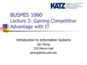 Lecture 3-Gaining Competitive Advantage with IT