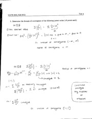 Test 4 on Convergence of Power Series
