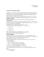 Sequences and Summation Notation Notes
