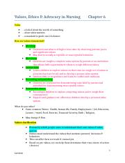 Ch 6 Values Ethics Advocacy Notes Outline (1)