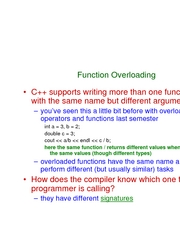 L10 - function overloading and function templates