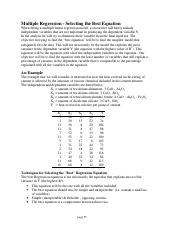 Multiregression Model
