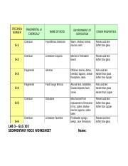 2 pages GLG103 LAB 03 - Sedimentary Rocks Worksheet