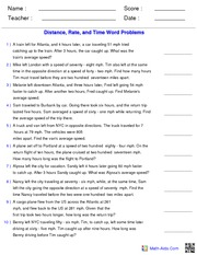 Distance Rate Time Problems Math Aids (has key) - Name : Score ...