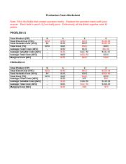 Production Costs Worksheet - Answers
