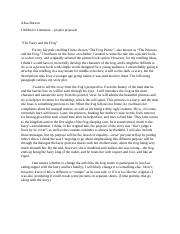 Child Lit - project proposal - faery and frog