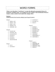 Word Forms Activity 1