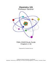 Final Exam Review Sheet - Chemistry Final Exam Review ...