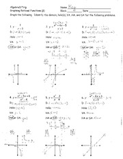 Worksheet Rational Functions 1 Answers -