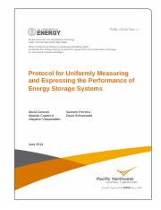 [PNNL-22010 Rev1] Protocol for Uniformly Measuring and Expressing the Performance of Energy Storage