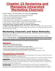 Chapter 15 Designing and Managing Integrated Marketing Channels
