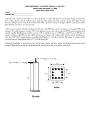 Final Exam Solution 2006 on Prestressed Concrete Design