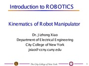 EE I5501 Lecture on Robot Manipulator (Part 1)