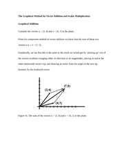 The Graphical Method for Vector Addition and Scalar Multiplication