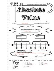 Absolute Value Doodle Notes Answer Key