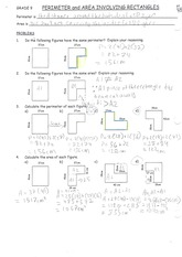 MPM 1D Perimeter and Area of Rectangles Notes and solutions