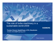 The role of turbo machinery 2009