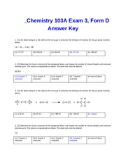 Exam 3 Form D Key fall 07CHEM103A Dr. Keller