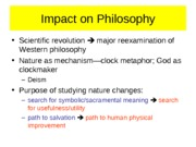Chapter 14-Impacts of the Scientific Revolution on Philosophy