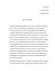 ANTH 444 Essay on historical archaeology