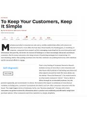 To Keep Your Custmers, Keep It Simple