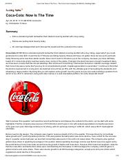 Coca-Cola_ Now Is The Time - The Coca-Cola Company (NYSE_KO) _ Seeking Alpha