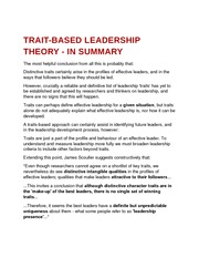 trait-based leadership theory - in summary