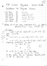 Answers to 2B Linear Algebra Degree Exam 2013 (Solutions)