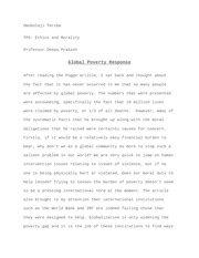 Global Poverty Short Essay