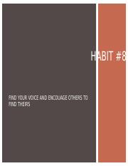 Habit 8... Find your Voice and Inspire Others to Find Theirs