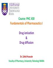 Drug ionisation AND drug diffusion