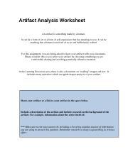 WK2AssgnBarnesE - Artifact Analysis Worksheet An artifact is ...