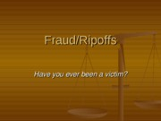 FCS 226 Frauds and Ripoffs