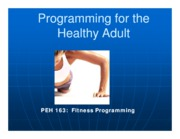 Programming for the healthy adult ch11