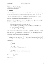 MATH 2004 Notes on Fourier Series
