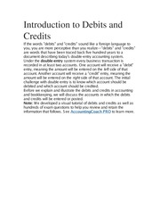 Introduction to Debits and Credits