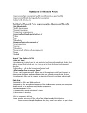 Nutrition for Women Notes