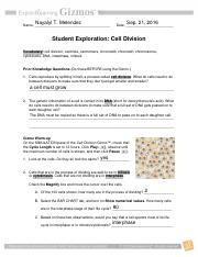 3_1-CellDivision - Student Exploration Cell Division ...