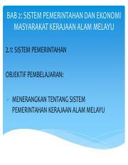 Bab 2 Pdf Bab 2 Sistem Pemerintahan Dan Ekonomi Masyarakat Kerajaan Alam Melayu 2 1 Sistem Pemerintahan Objektif Pembelajaran Menerangkan Tentang Course Hero