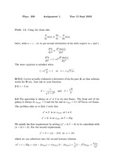 Phys 200 Wave Equations Homework Solutions