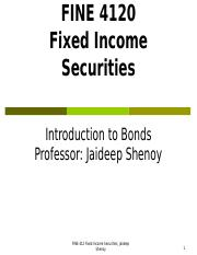 FINE 412 Chapter 1 (Introduction to Bonds) Spr 2016