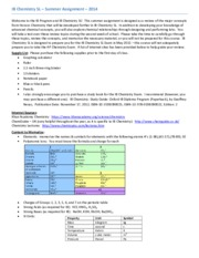 IB Chemistry SL_2014 Summer Assign